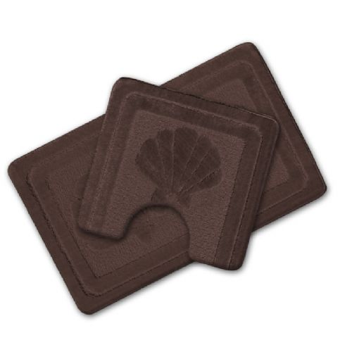 LUXURY 2 PIECE NON SLIP BATH MAT & PEDESTAL BROWN COLOUR